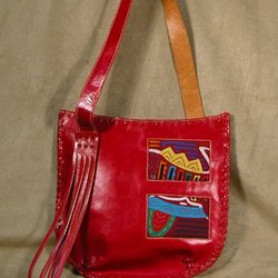 Ruby Red Leather Mola Bag