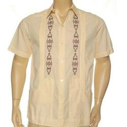 Guayabera Poly-Cotton Embroidered Shirt with 2 Pockets