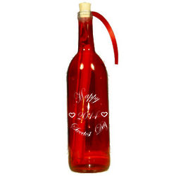 Red Engraved Sweetest Day Message in a Bottle