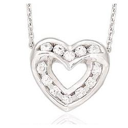 14K WG Two Channel 1/3 Carat Diamond Heart Necklace