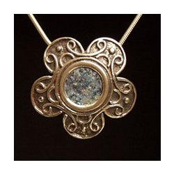 """Roman Glass """"Flower"""" Pendant Necklace"""
