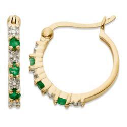 14K Gold Over Sterling Emerald and Diamond Hoop Earrings