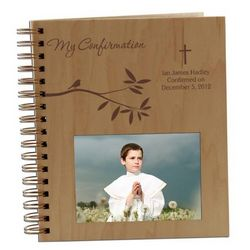 Blessed Little Wings Personalized Confirmation Wooden Photo Album