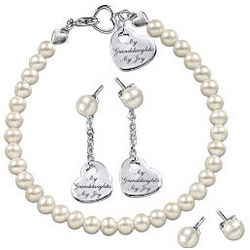 My Granddaughter My Joy Cultured Pearl Jewelry Set