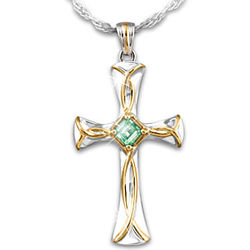 Celtic Blessings Irish Cross Pendant with Emerald Necklace