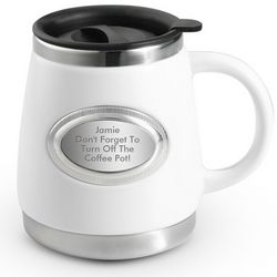 Engravable White Stainless Steel and Ceramic Mug