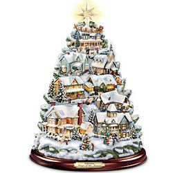 Thomas Kinkade Illuminated Musical Village Tabletop ChristmasTree