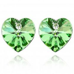 Peridot Green Swarovski Heart 18K Gold Plated Stud Earrings
