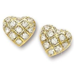 Cubic Zirconia Heart-Shaped Earrings