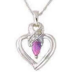 Pink Sapphire and Diamond Ribbon Heart Pendant