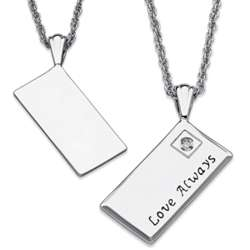 Platinum Plated Love Always Envelope Necklace with Diamond Accent