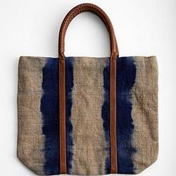Jute Shopper Bag with Leather Handles