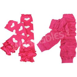 Hearts and Ruched Colorful Baby Leg Warmers