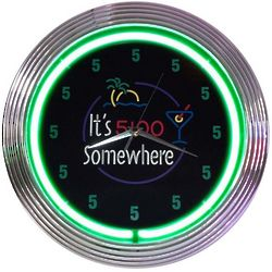 5 O'Clock Somewhere Neon Clock