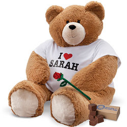 4 Foot Big Hunka Love I Heart You T-Shirt Teddy Bear with Rose