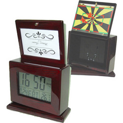 Large LCD Clock & Photo Frame with Hidden Magnetic Dart Game
