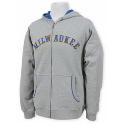 Milwaukee Brewers Grey Full Zip Hooded Sweatshirt