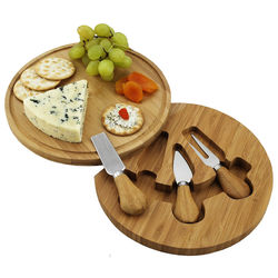 Feta Round Bamboo Cheese Board Set