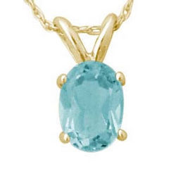 7x5mm Oval Aquamarine Pendant in 14k Yellow Gold