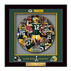 Green Bay Packers Super Bowl XLV Commemorative Shadowbox Plate