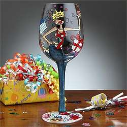 Happy Birthday Hand-Painted Wine Glass for Women