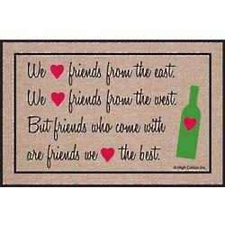 We Heart Friends with Wine Doormat