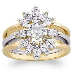 Two-Tone Round Cubic Zirconia Wedding Ring Set