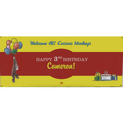 Personalized Curious George Birthday Party Banner