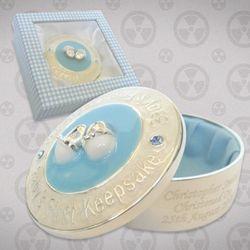 Engraved Blue Epoxy 1st Keepsake Box