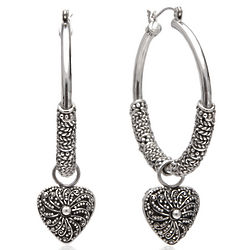 Artisan Sterling Silver Heart Charm Hoop Earrings