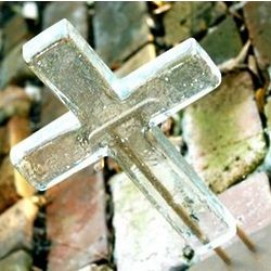 Large Crystal Hope Glass Cross with Stand