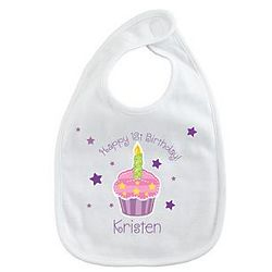 Pastel Cupcake Personalized Birthday Bib