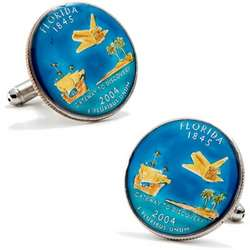 Hand-Painted Florida State Quarter Cufflinks