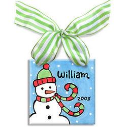 Personalized Snowman Blue Ceramic Tile Ornament