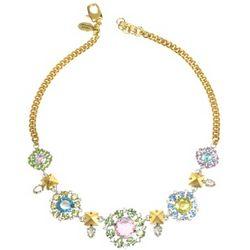Rhinestone Flower Bib Necklace