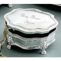 Personalized Princess Victorian Silver Jewelry Box