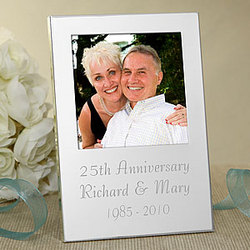 Engraved Silver Personalized Anniversary Picture Frame