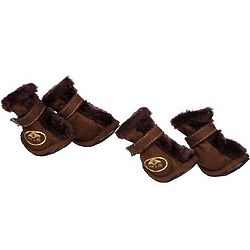 Brown Ultra Faux Fur Dog Boots