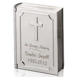 Silver Personalized Memorial Bible Keepsake Box
