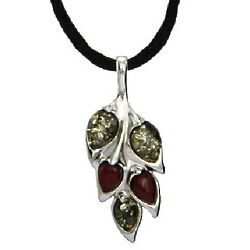 Green and Cherry Amber Sterling Silver Leaf Pendant