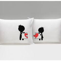 Complete My Heart His & Hers Matching Couple Pillowcases