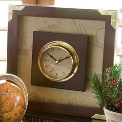 Seafarer's Square Brass and Wood Clock