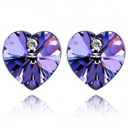 Purple Swarovski Crystal Heart 18K Gold Plated Stud Earrings