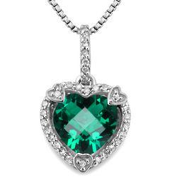 Diamond and Created Emerald Birthstone Heart Pendant
