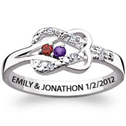 Sterling Silver Couple's Birthstone Diamond Infinity Knot Ring
