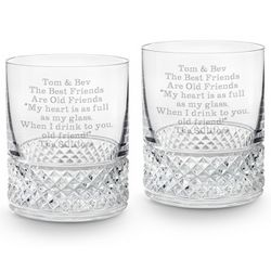 Diamond Cut Crystal Double Old Fashioned Glasses