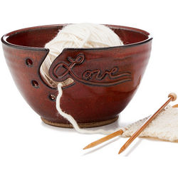 Love Stoneware Yarn Bowl