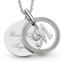 Engraved Charm Initial M Swing Necklace