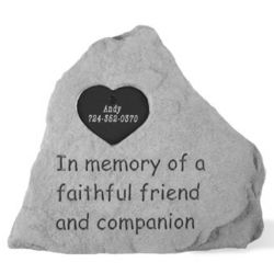 In Memory Heart Tag Personalized Pet Memorial Stone