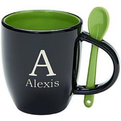 Black and Green Name and Initial Mug with Spoon